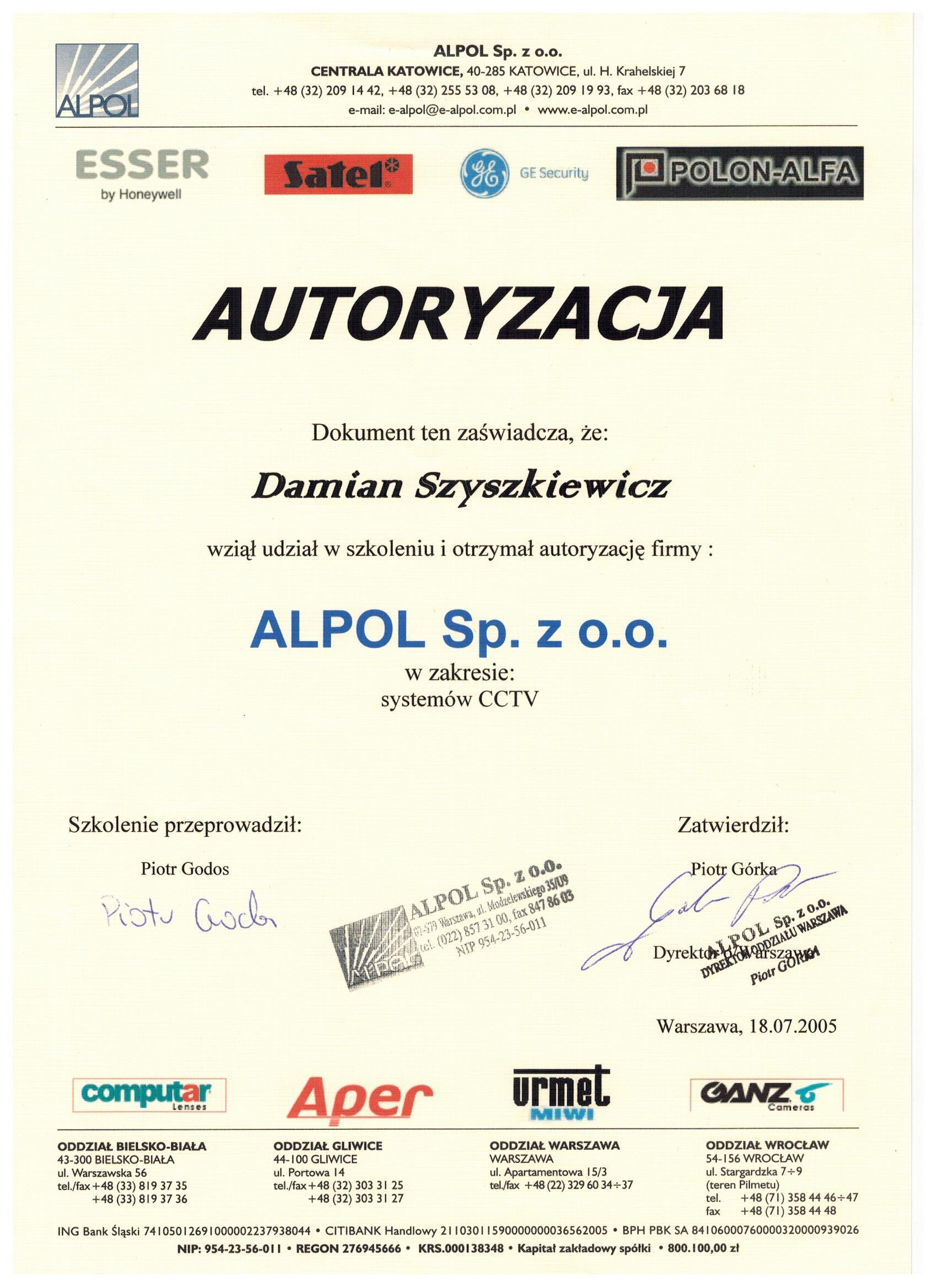 Autoryzacja firmy APLOL - systemy CCTV