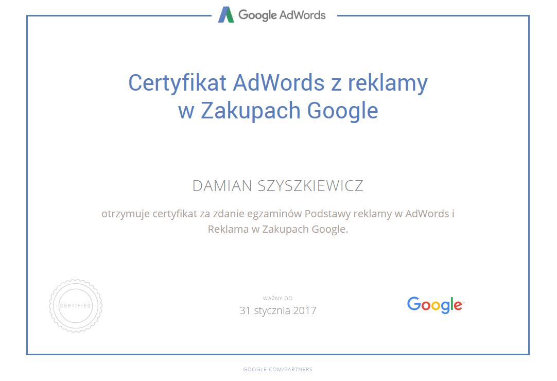 certyfikat Adwords reklama w Zakupy Google