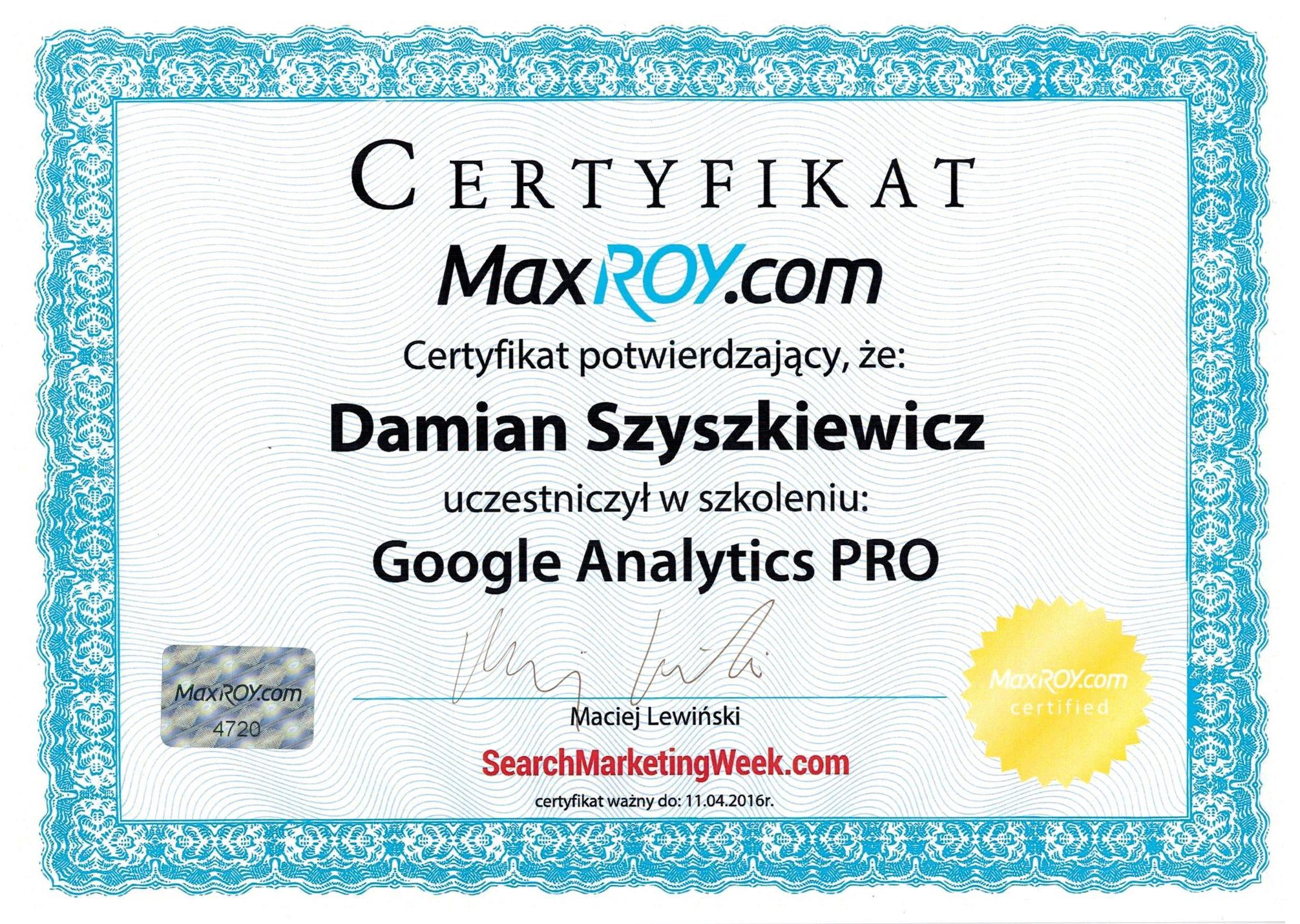 ceryfikat Google Analitycs Pro