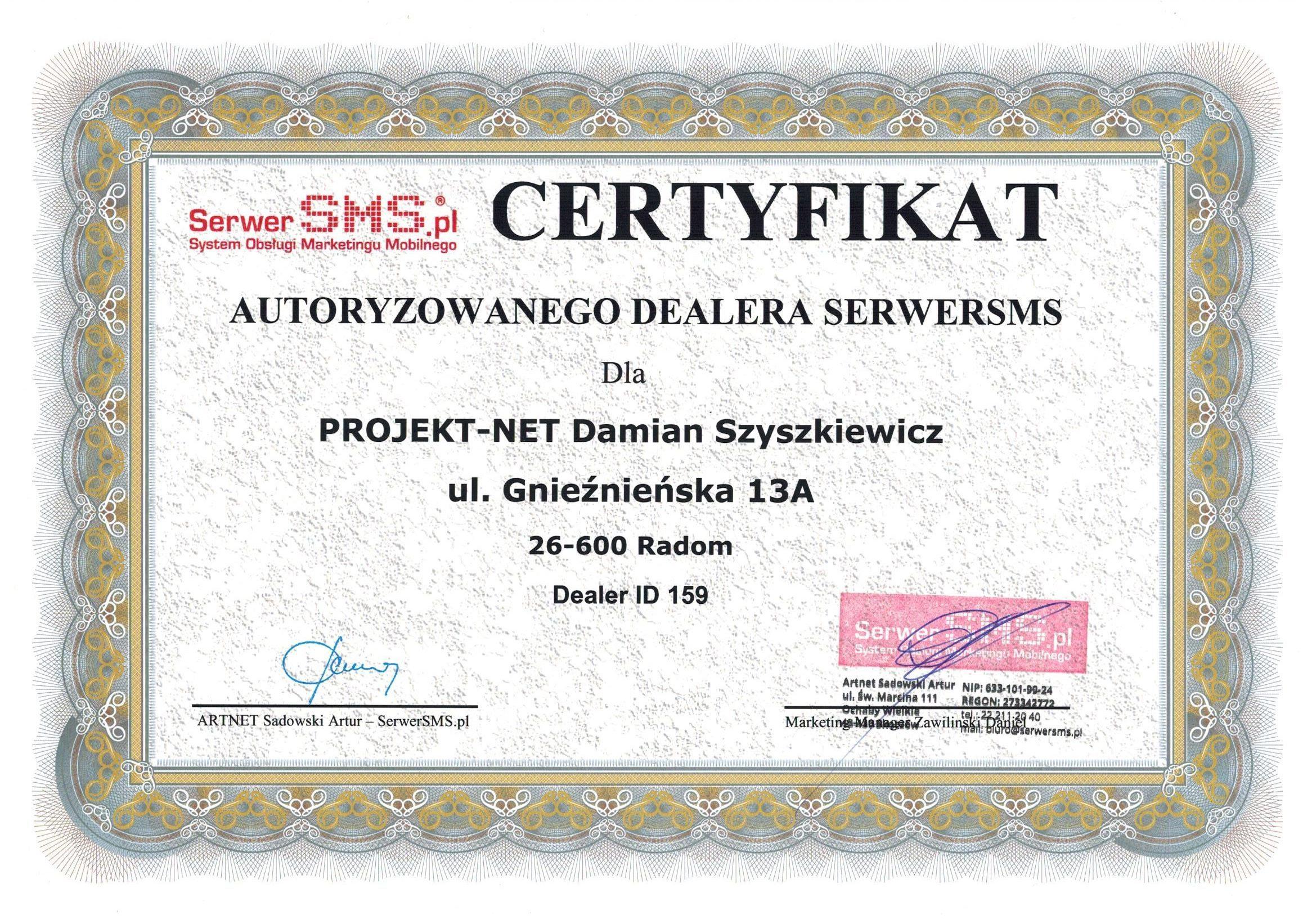 Certyfikat autoryzowanego dealera smsserwer