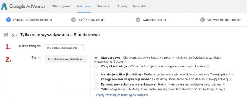Zakładanie konta - widok strony - nazwa i typ kampanii