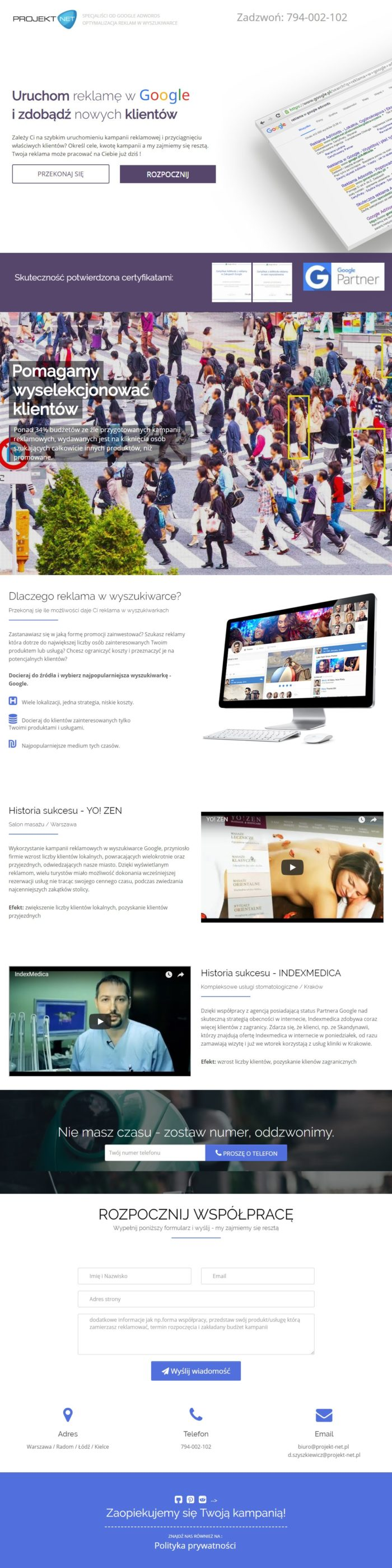 Strona gówna Adwords Projekt-Net