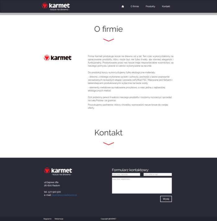 Strona o firmie Karmet