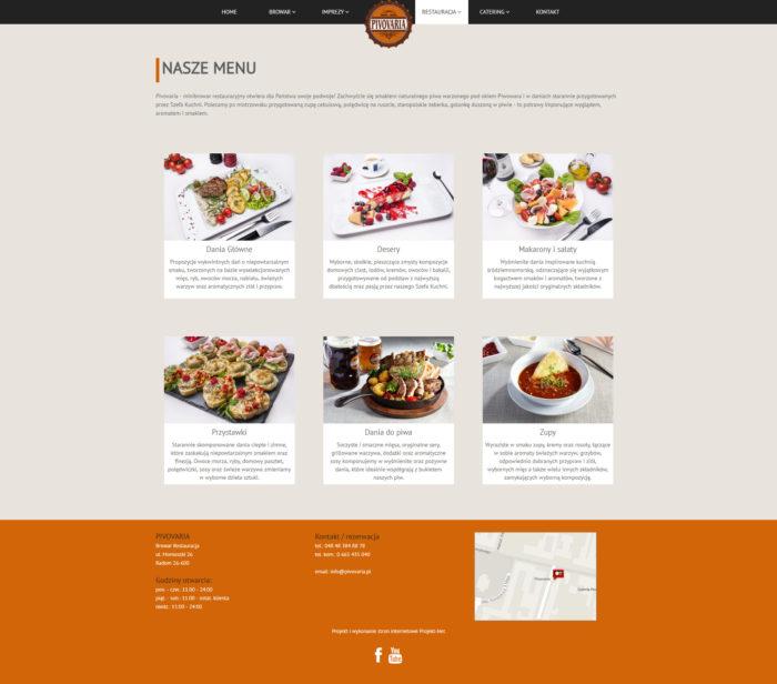 Strona menu PIVOVARIA