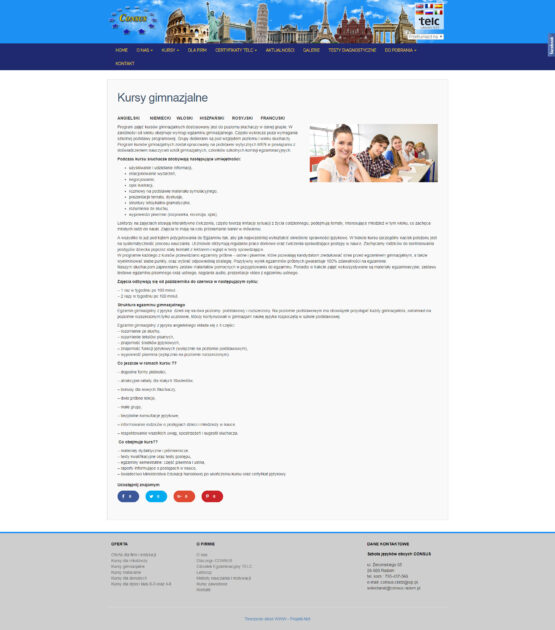 Strona kursów gimnazjalnych SJO Consus
