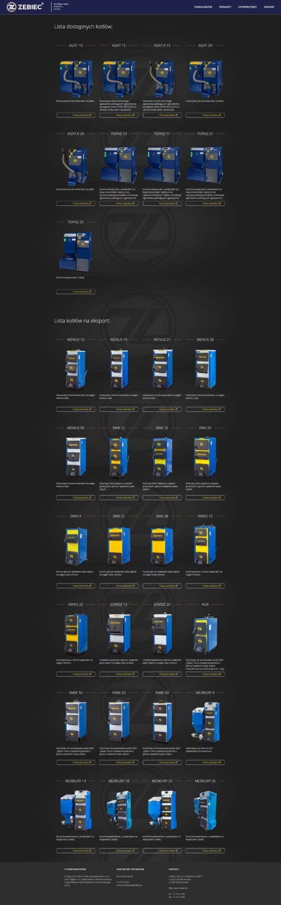 Strona produktów Zębiec konfigurator